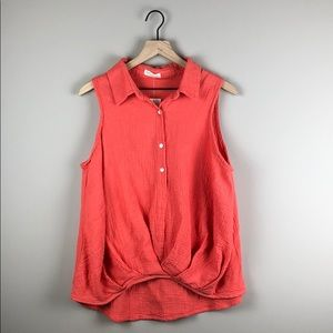 NWT Just Living Sleeveless Coral Top (Size Small)